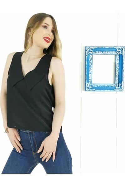Ayriss V Yaka Detay Kadın Bluz - Siyah