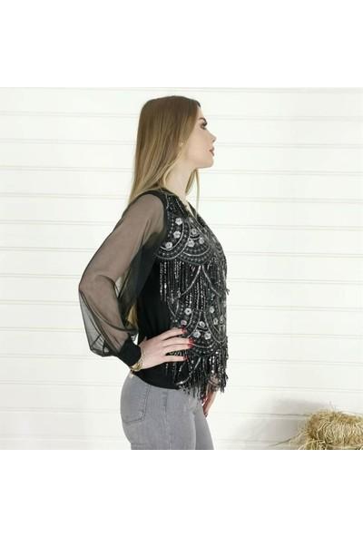 Buketli Pullu Kolları Tül Detay Bluz - Siyah