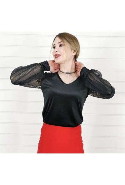 Buketli Desenli Tül Kol Kadife Bluz - Siyah