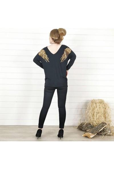 Buketli Gold Sırt Kanat Detay Kadın Bluz - Siyah
