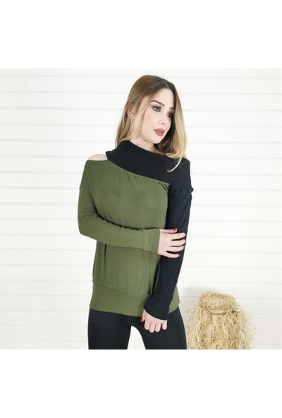Buketli Tek Omuz Açık Iki Renk Bluz - Haki