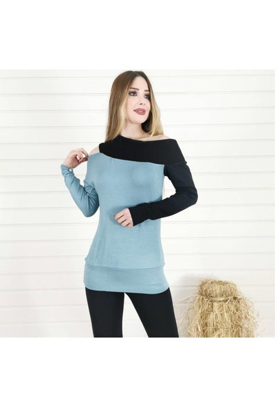 Buketli Tek Omuz Açık Iki Renk Bluz - Mavi