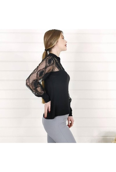 Buketli Yaka Kol Detay Kadın Bluz - Siyah