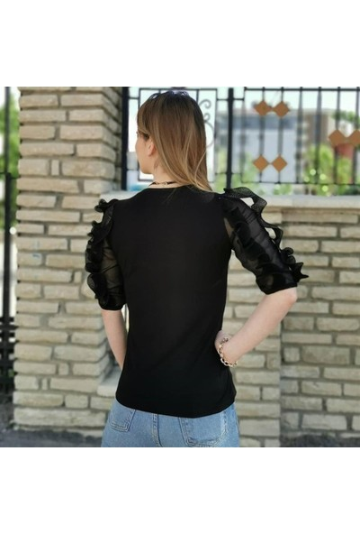 Buketli Kol Detay V Yaka Kadın Bluz - Siyah