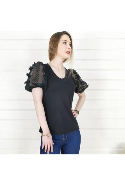Buketli Kol Ponpon Desenli Kadın Bluz - Siyah