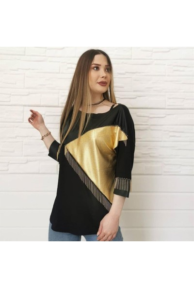 Buketli Püskül Detay Kadın Bluz - Gold