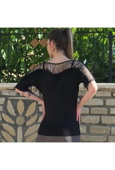 Buketli Püsküllü Bluz - Siyah