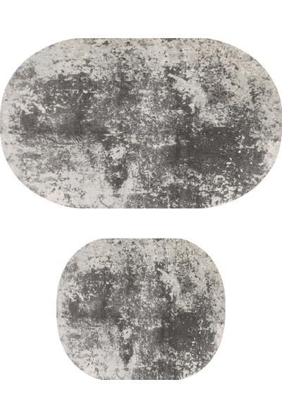 Colizon 50X80 - 40X50 Dijital Banyo Halısı Kaymaz Tabanlı Oval Klozet Takımı TYKOB-1898-K