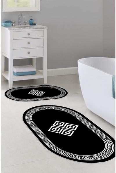 Colizon 50X80 - 40X50 Dijital Banyo Halısı Kaymaz Tabanlı Oval Klozet Takımı TYKOB-2230-SIYAH-K