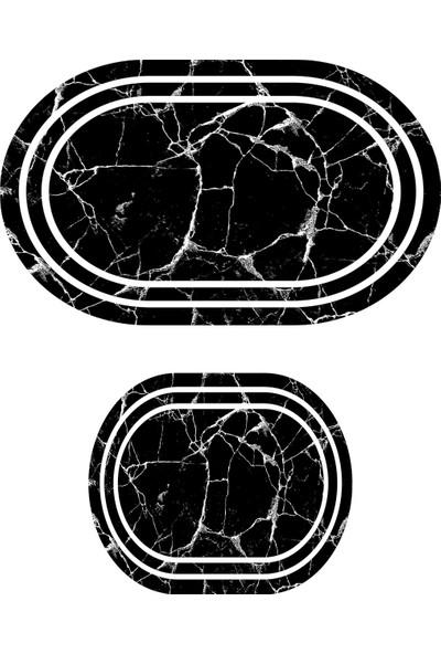 Colizon 60X90 - 50X60 Dijital Banyo Halısı Kaymaz Tabanlı Oval Klozet Takımı TYKOB-2350-1