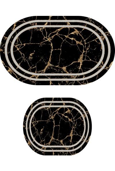 Colizon 60X90 - 50X60 Dijital Banyo Halısı Kaymaz Tabanlı Oval Klozet Takımı TYKOB-2350-9