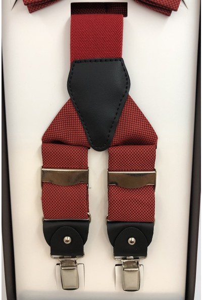 Quesste Armürlü Kırmızı Metal Klipsli Pantolon Askısı ve Papyon Set