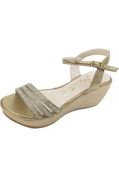Jena 23 Fashion Dolgu Topuklu Taşlı Kadın Sandalet