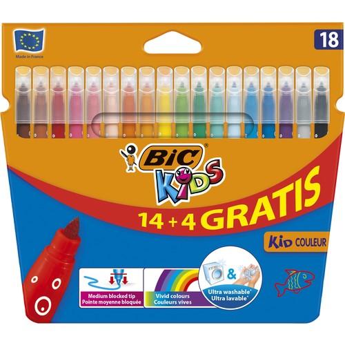 BIC Kids Couleur (Ultra Yıkanabilir) Keçeli Boya Kalemi 14+4 Renk