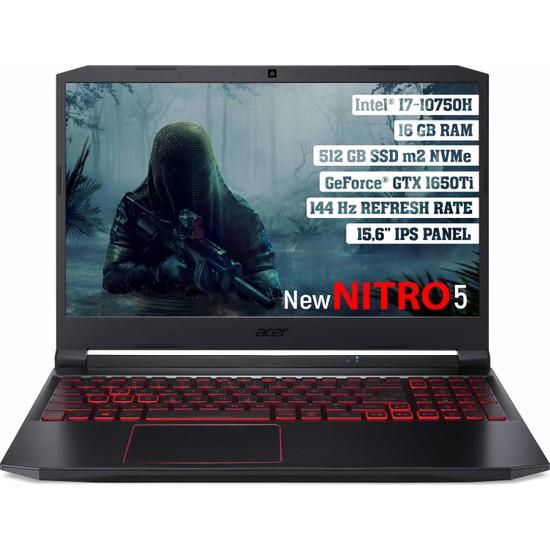 """Acer Nitro 5 Intel Core i7 10750H 16GB 512GB SSD GTX1650Ti Freedos 15.6"""" FHD 144Hz Taşınabilir Bilgisayar NH.Q7JEY.002"""