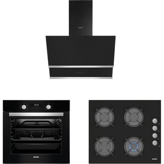 Simfer Siyah Cam Ankastre 3' lü Dijital Set (7337 Ank. 6 Fonk. Siyah Cam Panel Turbo Fırın + 3500 Gaz Kesme Emniyetli Siyah Cam Ocak + 8658 Dokunmatik Siyah Cam Davlumbaz)