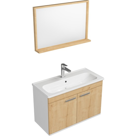 Ece Banyo Rubino Banyo Dolabı 80 cm Set Beyaz Meşe