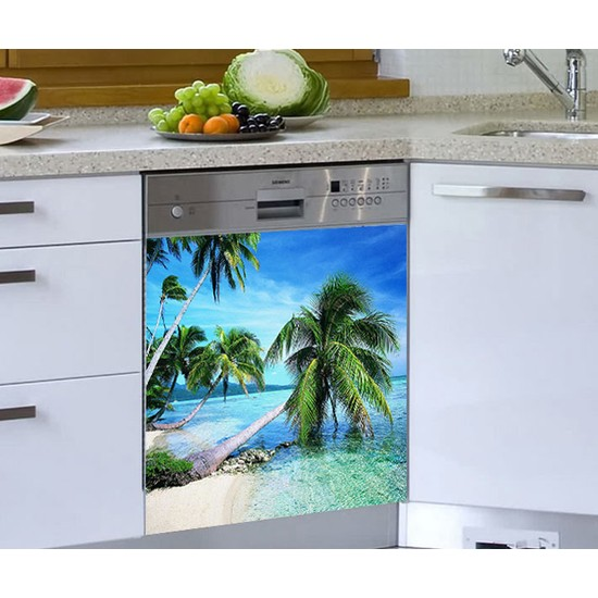 Jasmin Bulaşık Makinesi Sticker Deniz Ağaçlar