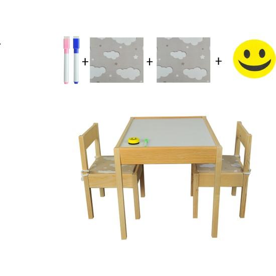 Masal Oyuncak Ahşap Çocuk Masası Yaz Sil Yüzey 2 Sandalyeli