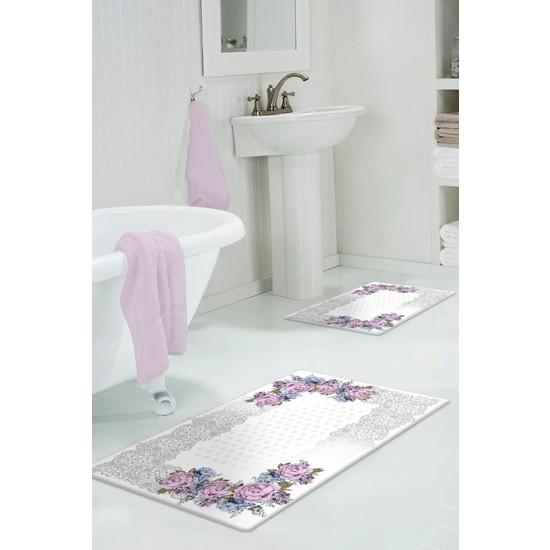 Colizon 60 x 90 cm - 50 x 60 cm Dijital Banyo Halısı Kaymaz Tabanlı Klozet Takımı 2'li TYKDB-2143