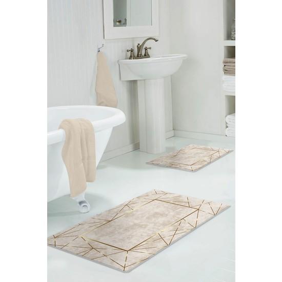 Colizon 60 x 90 cm - 50 x 60 cm Dijital Banyo Halısı Kaymaz Deri Tabanlı Klozet Takımı TYLDB-2400