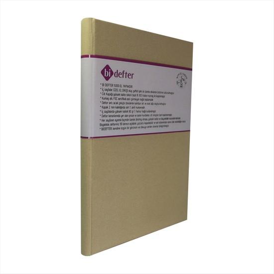 Bi Defter Kumaş Ciltli Defter El Yapımı El Dikişi İplik Dikiş Somon Rengi Kumaş 200 Sayfa Noktalı 14 x 20 cm