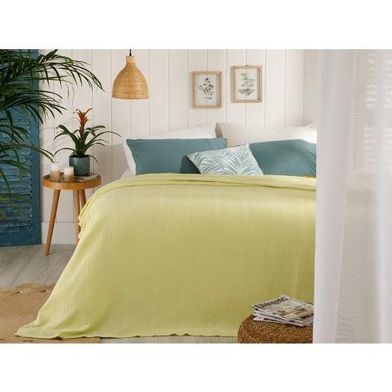 English Home Düz Pamuklu Tek Kişilik Pike 150 x 220 Cm Limon Sarı