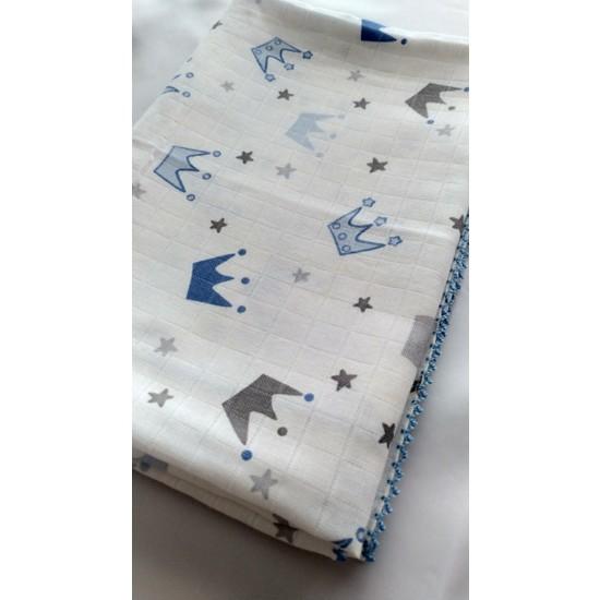 Bisare Müslin Battaniye - Örtü - Çok Amaçlı Bebek Battaniyesi - Mavi Taç Desenli