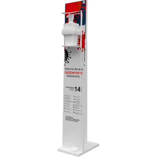 Bayz Pedallı Dezenfektan Standı / Kol Dirsek Basmalı Stand 115 x 20 cm