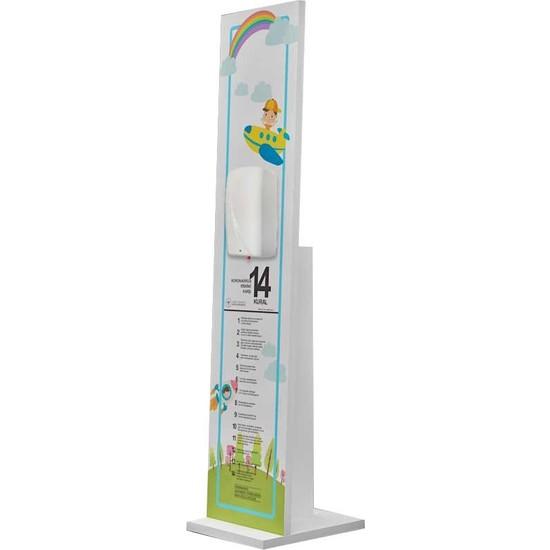 Bayz Sensörlü Çocuk El Dezenfektan Standı Melamin Kaplama Fotoselli Ayaklı Stand 117 x 22 cm
