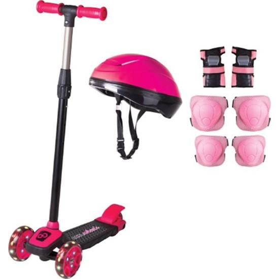 Cool Wheels Pembe Twist Işıklı Scooter Kask Seti
