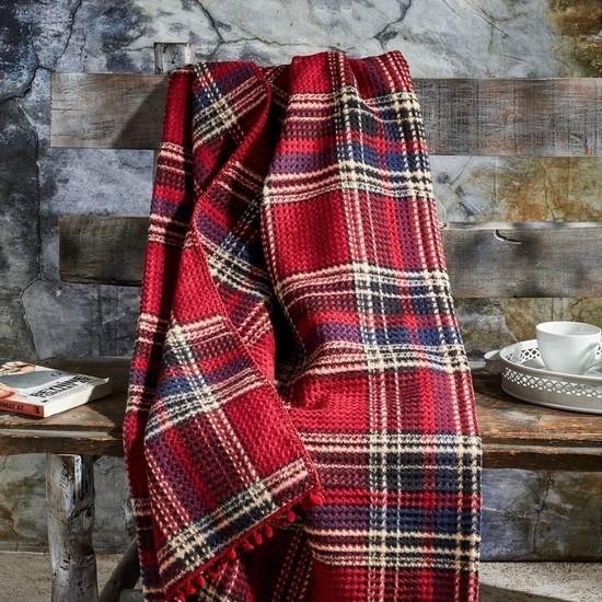 Aksu Cozy Life Tek Kişilik Pamuklu Battaniye Kırmızı-Lacivert