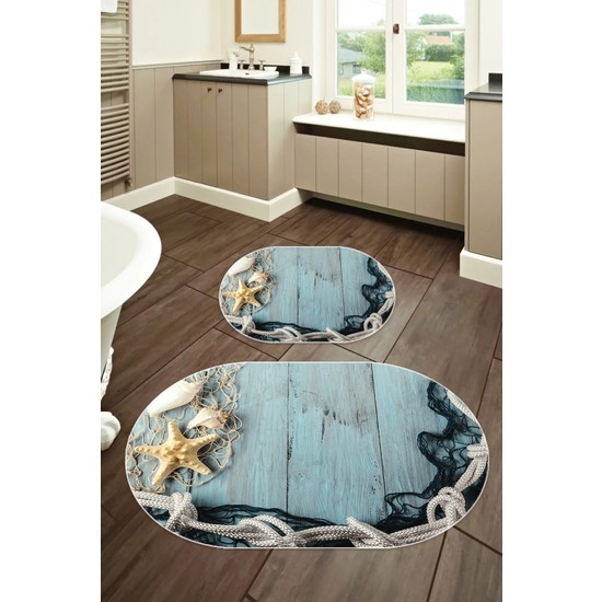 Colizon 50X80 - 40X50 Dijital Banyo Halısı Deri Tabanlı Oval Klozet Takımı 2'li TYLOB-2106