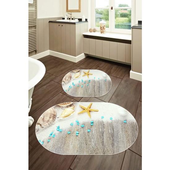 Colizon 60X90 - 50X60 Dijital Banyo Halısı Deri Tabanlı Oval Klozet Takımı 2'li TYLOB-2110