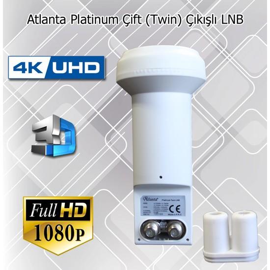 Atlanta Platinum Twin Çiftli Çift Çıkışlı 4K Full HD LNB (İki Ayrı Uydu Alıcısında Kullanım)