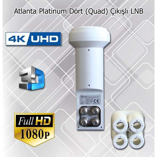 Atlanta Platinum Quad Dörtlü Dört Çıkışlı 4K Full HD LNB (Dört Ayrı Uydu Alıcısında Kullanım)