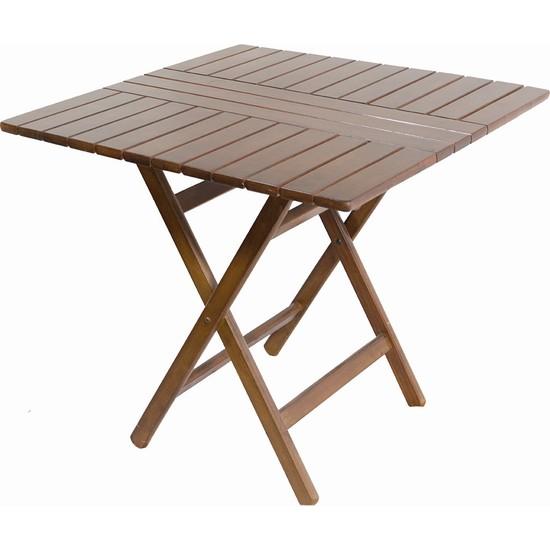 Bahçeme Ahşap Bahçe Balkon Mutfak Masası -Kaş Katlanabilir 80X80