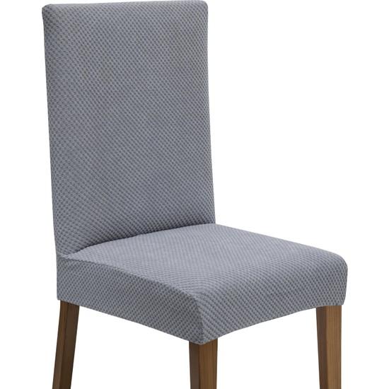 Latuda Likralı Yıkanabilir Gri Sandalye Kılıfı   Sandalye Örtüsü 6'lı