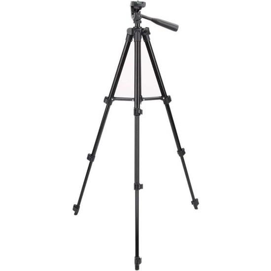 Rosstech Telefon ve Kamera Tutucu Profesyonel Tripot Ayak 110 cm Su Terazisi Ayarlamalı Siyah
