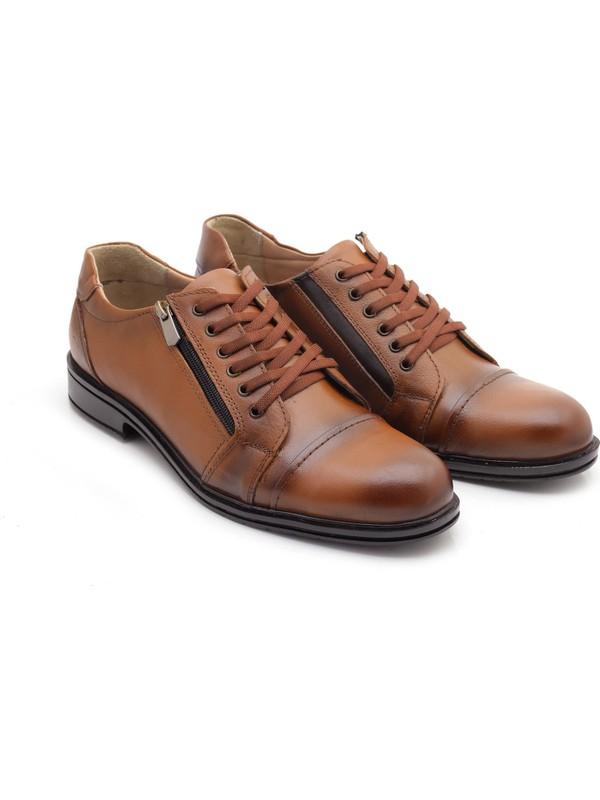 Man 4077 Deri Bağcık Fermuarlı Erkek Günlük Topuk Destekli Ayakkabı