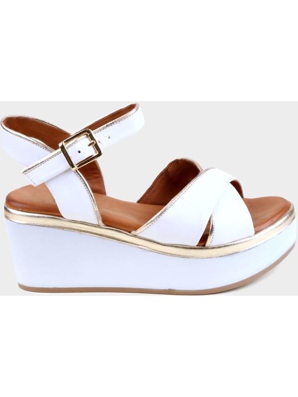 Kammi Beyaz Deri Kadın Dolgu Topuk Sandalet