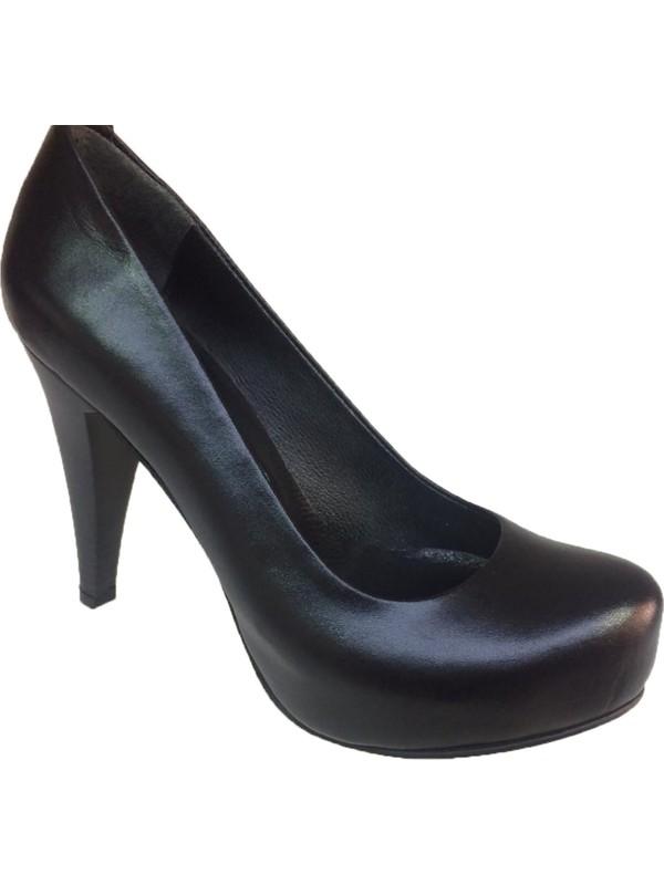 Elegan Siyah Deri Gizli Platformlu Ayakkabı