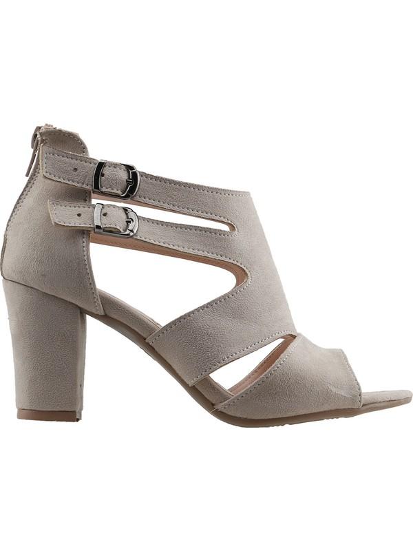 Ayakland 811-51 Günlük 7 cm Topuklu Kadın Süet Sandalet Ayakkabı