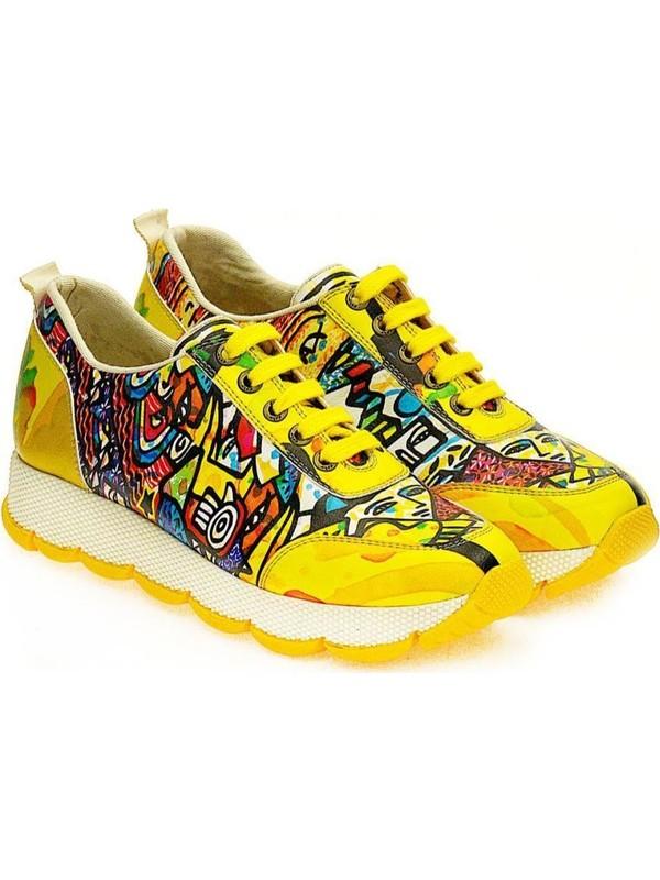 Goby Sps 103 Sarı Bağcıklı Kadın Spor Ayakkabı