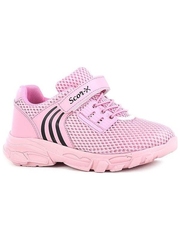 Scor-X Bağcıksız Kız Çocuk Fileli Pembe Spor Ayakkabı