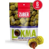 Züber Antep Fıstığı Kaplı Kakaolu Fındık Ezmeli Meyve Topu 96 gr x 6 Paket