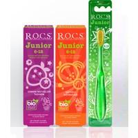 Rocs Junior Yaş Karma Diş Macunu ve Diş Fırçası Seti - 2 Diş Macunu ve 1 Diş Fırçası