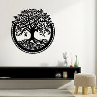 Karaen Hayat Ağacı Temalı Dekoratif Metal Duvar Dekoru - Yaşam Ağacı Metal Tablo