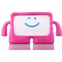 CepLab Samsung Galaxy Tab E T560/T562 9.6 Kılıf Emoji Standlı Silikon Tablet Kılıfı + Dokunmatik Kalem Koyu Pembe