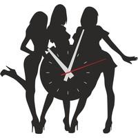 Sa Lazer Siyah Hediyelik Ahşap Dekoratif Kadın Desenli Duvar Saati 50 cm